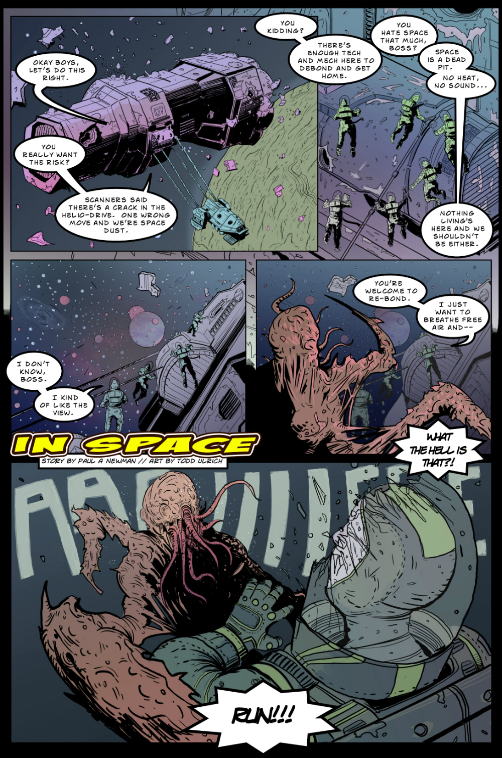 IN SPACE page 1 -- story 24 in THE BOOK OF LIES